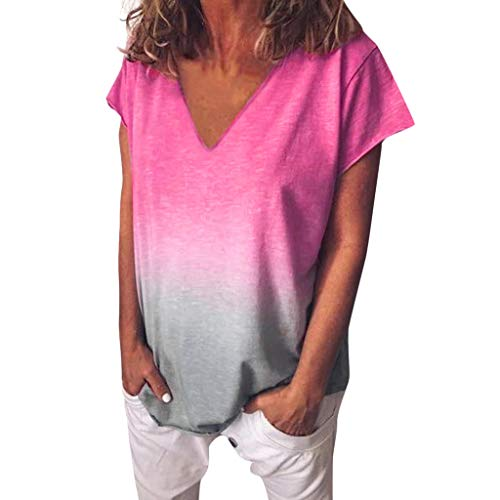 Toimothcn Women's Casual V Neck Gradient Color Short Sleeve T-Shirt Tunic Tops Blouse (Hot ()