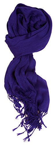 Lightweight Crinkle Scarf - Love Lakeside-Women's Must Have Solid Color Crinkle Scarf Cobalt Blue