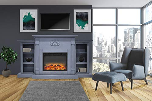 Cheap CAMBRIDGE Sanoma 72 in. Electric Fireplace in Slate Blue with Built-in Bookshelves and an Enhanced Log Display Black Friday & Cyber Monday 2019