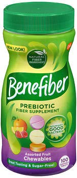 Benefiber Daily Prebiotic Fiber Supplement, Chewable Tablet for Digestive Health, Assorted Fruit, Sugar Free, 100 Count, 100ct
