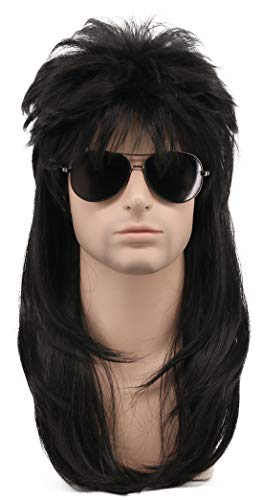 (Karlery Long Straight Black 80s Disco Mullet Wig Halloween Costume Wig Cosplay Punk Rock Wig)