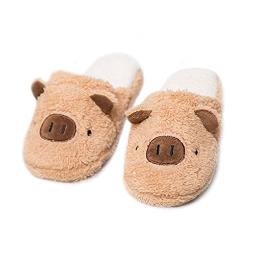 WYSBAOSHU Winter Warm Men Women Indoor Shoe Couples House Slipper Brown Pig y60qpb1E