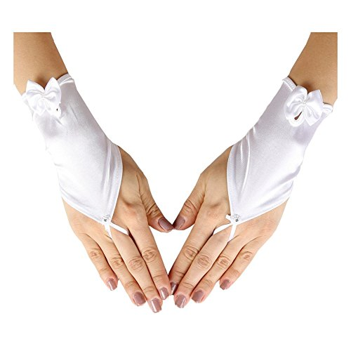 Girls White Fingerless Satin Ribbon Accented Communion Flower Girl Gloves]()