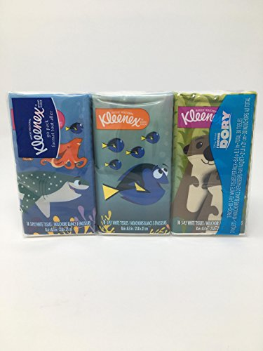 Finding Dory Pack Design Kleenex On-The-Go Facial Tissues, White, 10 Sheets Per Pack (3Pack)