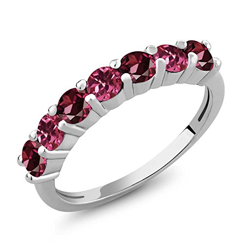 Gem Stone King 925 Sterling Silver Red Rhodolite Garnet and Pink Tourmaline Anniversary Ring 1.33 Ct Round (Size 9)