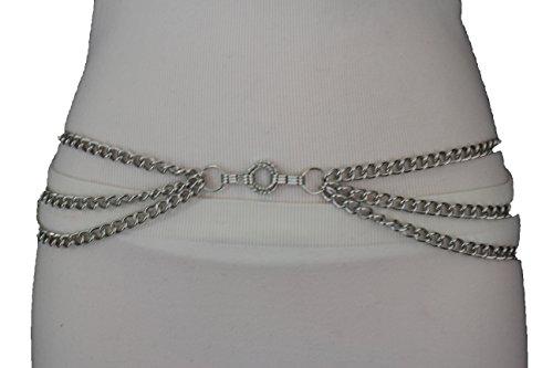 TFJ Women's Metal Chains Belt Hip High High Waist Chain Link Side Waves S M L Silver - Link Hip Belt