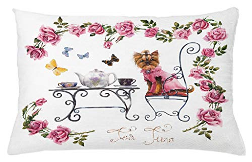 Ambesonne Yorkie Throw Pillow Cushion Cover, Yorkshire Terrier in Pink Dress Having a Tea Party Tea Time Butterflies Roses, Decorative Accent Pillow Case, 26 X 16 Inches, Pale Pink White