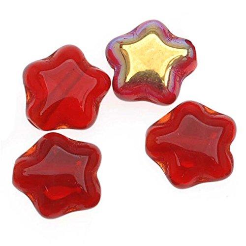 6mm Translucent Glass - Jablonex Czech Glass Beads Translucent Siam Red AB Tiny Stars 6mm (25)