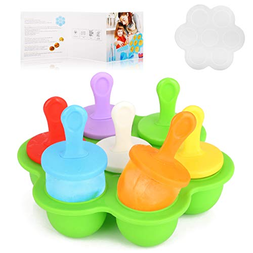 Silicone Egg Bites Molds for Instant Pot Accessories, Ice Popsicle Molds For Kids -7 Colorful Sticks and Drip-guards, Silicone Baby Food Freezer Tray with Lid Easy-release BPA-free & Cookbook Gift (Best Popsicle Molds For Toddlers)