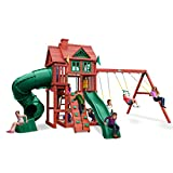 Gorilla Playsets 01-0096 Nantucket Deluxe Wood Swing Set with Tube Slide, Built-in Sandbox, and Rock Wall