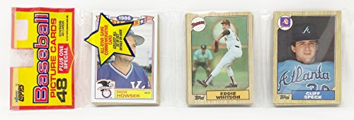 1986 Unopened 48 Count Baseball Rack Pack + 1 All Star Commemorative Card - Dick Howser Kansas City Royals (49 Total Cards)