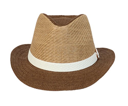[COMVIP Gangster Italian Mafia Fedora Straw Hats Summer Panama Sun Jazz Cap Brown] (Gangster Dresses)