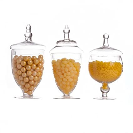 Glass Apothecary Jar Set of 3 use for Candy Buffet