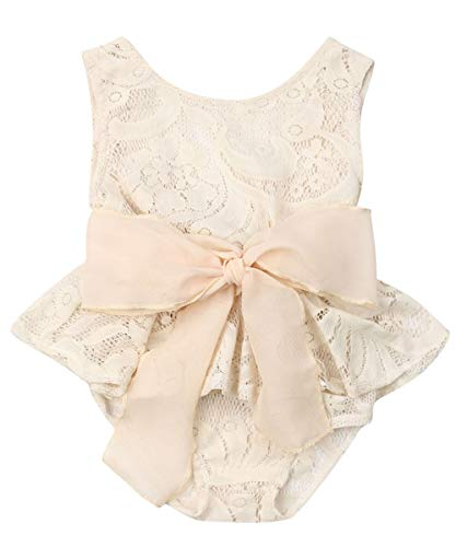 Newborn Infant Baby Girl Clothes Lace Halter Backless Jumpsuit Romper Bodysuit Sunsuit Outfits Set (Photography Props Romper, 12-18 Months) ()