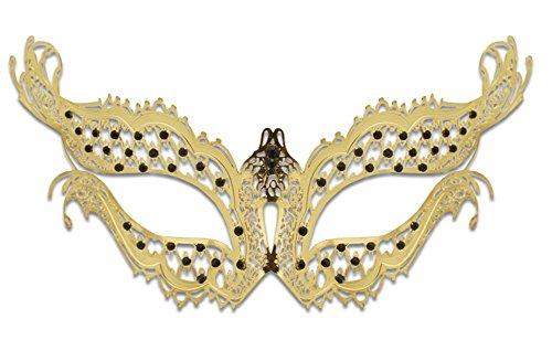 (Luxury Mask Women's Elena Vampire Diaries Laser Cut Masquerade Halloween Mardi Gras, Gold/Black Stones, One)