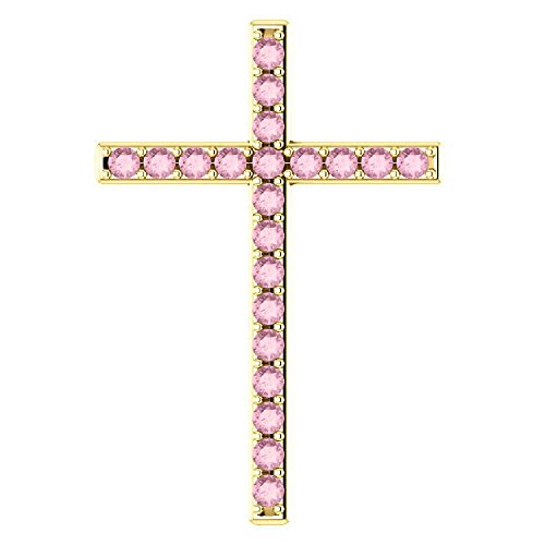 (Herein is Love Baby Pink Topaz Gold Cross Pendant, 10K Yellow Gold)