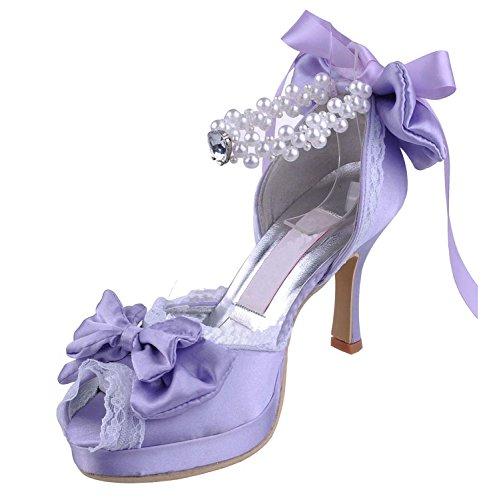 Hochzeitsschuhe 10cm Damen Heel Modische Purple MINITOO qwEUYSP