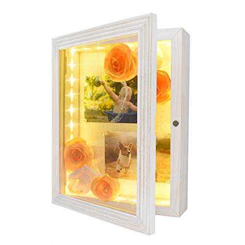 "HSicily LED Shadow Box Frame 11x14""Shadow Box Display Case with Lights Wood Memory Box Linen Back Glass Window for Keepsakes Memorabilia Awards Bouquet Military Photos Rustic White"