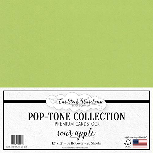 Sour Apple Green Cardstock Paper - 12 x 12 inch 65 lb. Premium Cover - 25 Sheets from Cardstock Warehouse (Green Apple Sheets)