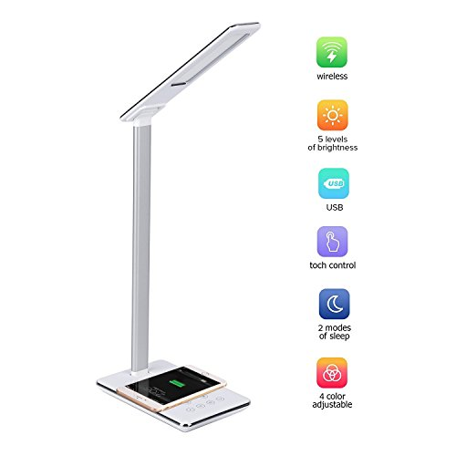 Price comparison product image Multi-function LED Desk Lamp with Qi Wireless Charger for iPhone X iPhone 8,  USB port, Touch Control, 5 levels brightness, 4 Color Temperature Modes, Flicker-free, Adjustable Arm and Lamp Head (Silver)