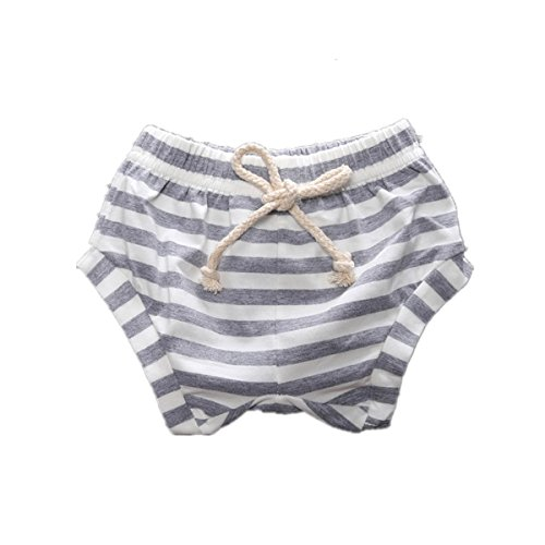 - WINZIK Baby Kids Pants Striped Elastic Waist Shorts Bloomers Boys Girls Toddler Summer Outfits Casual Beachwear Pants (6-12 Months, Grey)