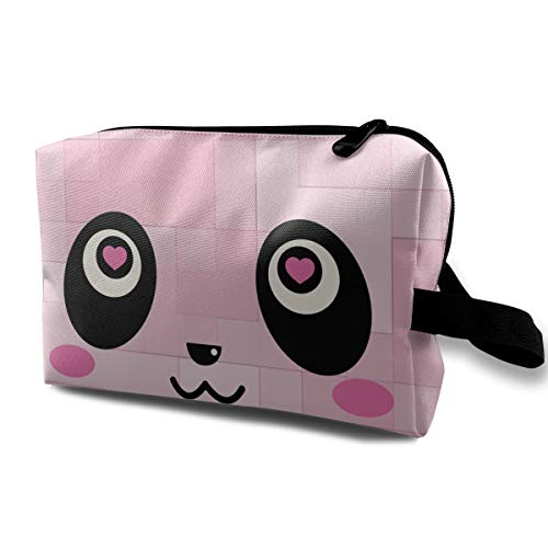 Wodehous Adonis Panda Face Heart Large Travel Cosmetic Pouch Bag Makeup Bags Portable With Zipper