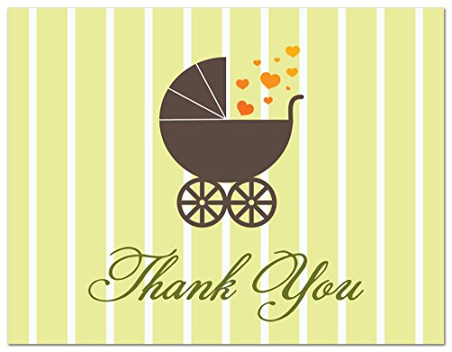 50 Cnt Love Buggy Carriage Hearts Baby Shower Thank You Cards