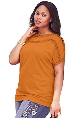 Womens Plus Size Open-Stitch Tee