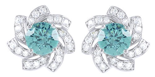 Tourmaline White Gold Stud - 4.00 Ct Paraiba Tourmaline & White Cubic Zirconia Flower Stud Earrings 14K White Gold Over Sterling Silver