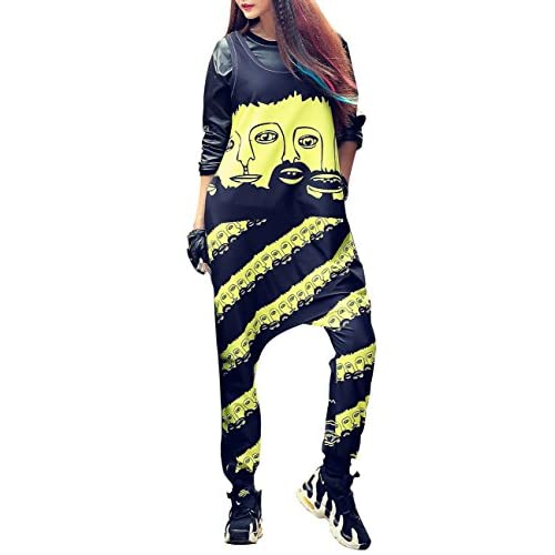 ELLAZHU Women Fashion Sleeveless Face Harem Jumpsuit Overalls Onesize GK205