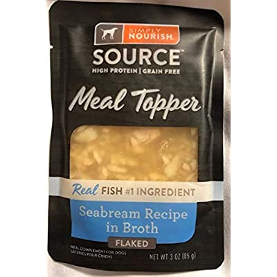 SIMPLY NOURISH 6 Pack Grain Free,HIGH Protein Meal Topper Seabream Flaked in Broth Recipe (6-Individual Pouches) NET WT 3 OZ Each