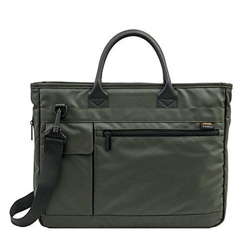 14 inch Laptop Bag, Travel Briefcase with Organizer, Expandable Hybrid Shoulder Bag, Water Resisatant Business Messenger Briefcases for Men and Women Fits 13-14 Inch Computer, Tablet - Army Green