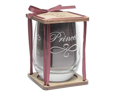 Princess 360 Degree Engraved Stemless Wine Glass