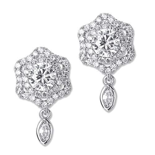 - SILVERAL Silver Earrings for Women Pin Earrings Crystal Floral Flower Earrings Stud Earrings (Floral Silver)