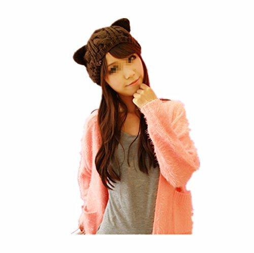 Zerowin Cute Woollike Knitted CAT Kitty Ears Girl Crochet Hats -