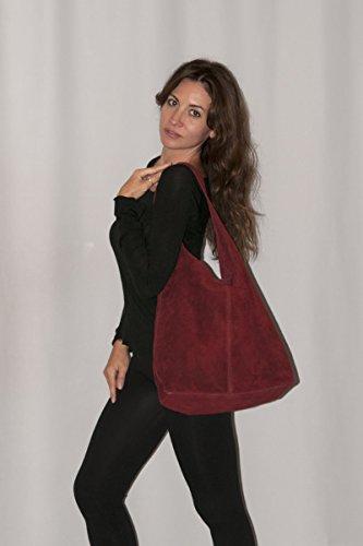 Les in SARA 100 doublure bourse réelle Bordeaux en de Italy sac daim femmes sans Made BORDERLINE qI6ES