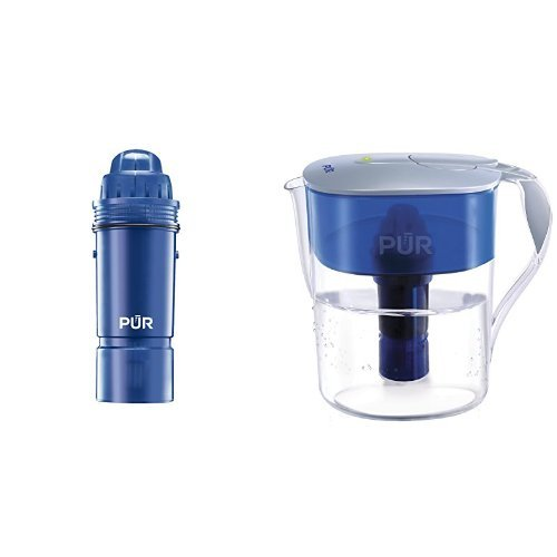 PUR 4-Pack Pur 2-Stage Water Pitcher Replacement Filter & PUR Classic Water Filtration System 11-Cup Pitcher with Filter Change LED Indicator Light