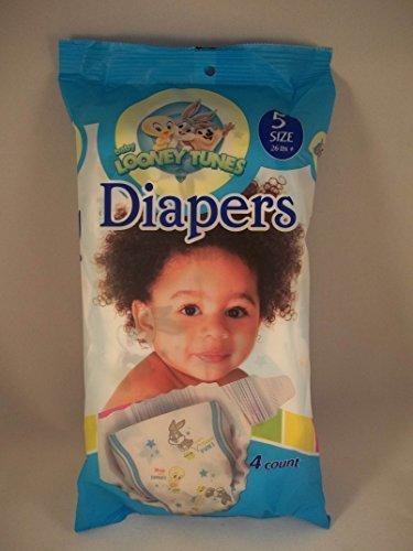 Baby Looney Tunes Size 5 Diapers (4 Count) Bugs Bunny Tweety Bird ()