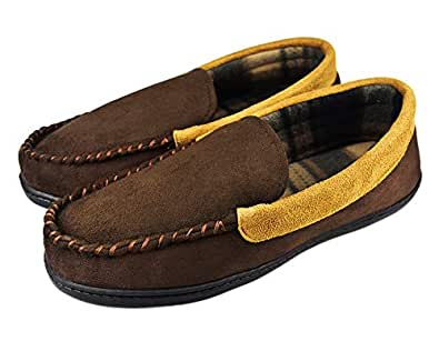 Tirzrro Men's Microsuede Moccasins Slippers with Non-Skid Rubber Sole Indoor Outdoor Shoes for Men US 10 Brown Beige