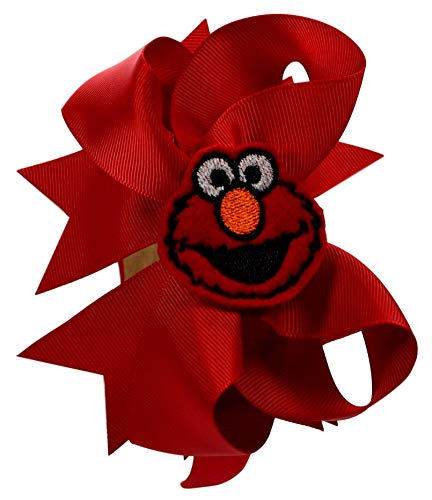 Elmo Arch Style Large Bow Headband with Handmade Embroidered Applique]()