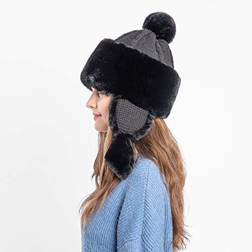 Reebok Ear Flap Mütze Peruvian Beanie Doppelschicht Strick Warm Winter Damen