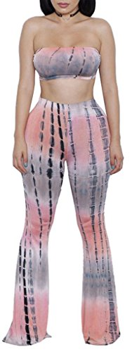 ZIKKER Women's Two-Piece Romper Sexy Tie Dye Print Bandeau Top Flared Bell Bottom Pants Jumpsuit Outfits Apricot Small