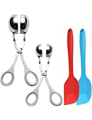 """2 Pack Meat Baller,DanziX Stainless steel Meatball Tongs Cake Pop Maker Ice Tongs Cookie Dough Scoop for Kitchen with 2 Spatulas-Ball size 1.37""""&1.89"""""""