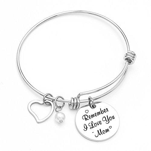Yoomarket Mom charm bracelet Remember I love you mom Pearl Adjustable Pendant Bracelet Stainless Steel Women Jewelry Birthday Present by Yoomarket (Image #4)