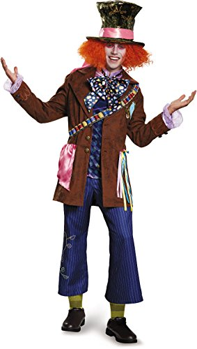 [Disney Men's Plus Size Alice Mad Hatter Prestige Costume, Multi, XX-Large] (Mad Hatter Alice Costumes)
