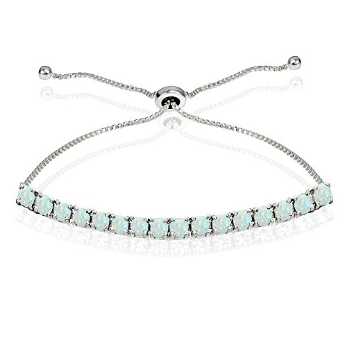 Sterling Silver 3mm Simulated White Opal Round-cut Chain Adjustable Pull-String Bolo Slider Tennis Bracelet