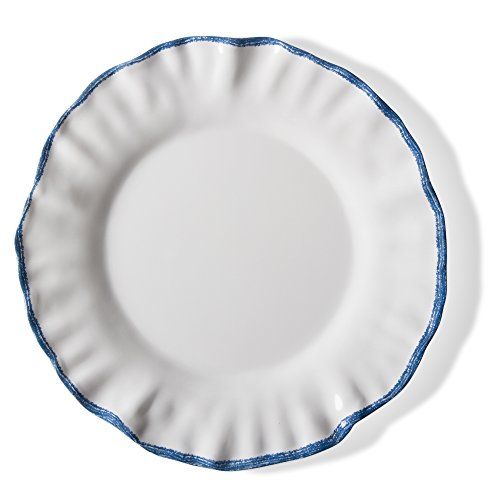 Tag Rims - tag - Ruffle Rim Melamine Dinner Plate, Durable, BPA-Free and Great for Outdoor or Casual Meals, Blue/White (Set Of 4)