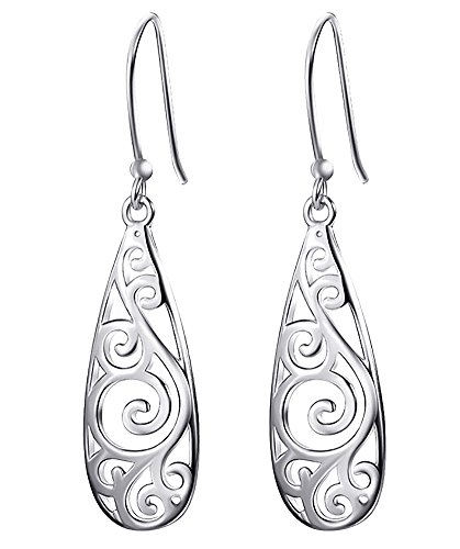 Ladies Fashion Drop (Bassion Sterling Silver Filigree Teardrop Earrings Fashion Dangle Drop Earrings for Women Girls)