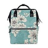 Backpack Light Blue Flower Mens Laptop Backpacks Shoulder Hiking Daypack