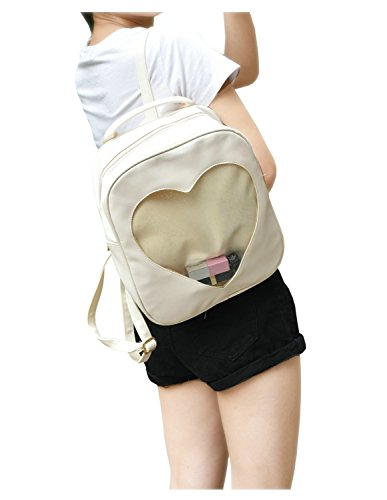 White Candy Naray Beach Pu Leather Plastic Heart Grils Transparent Bag School Backpack Bq1PZdwq